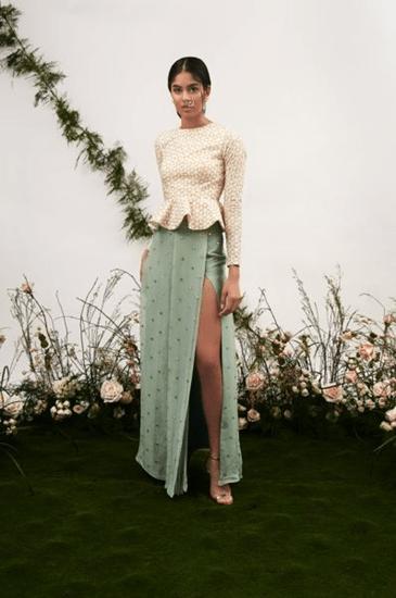 Peplum top with side slit skirt