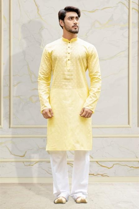 Manyavar - Cheerful Yellow Kurta with Lower – Ethnic Kurtas for Men at  Manyavar.com